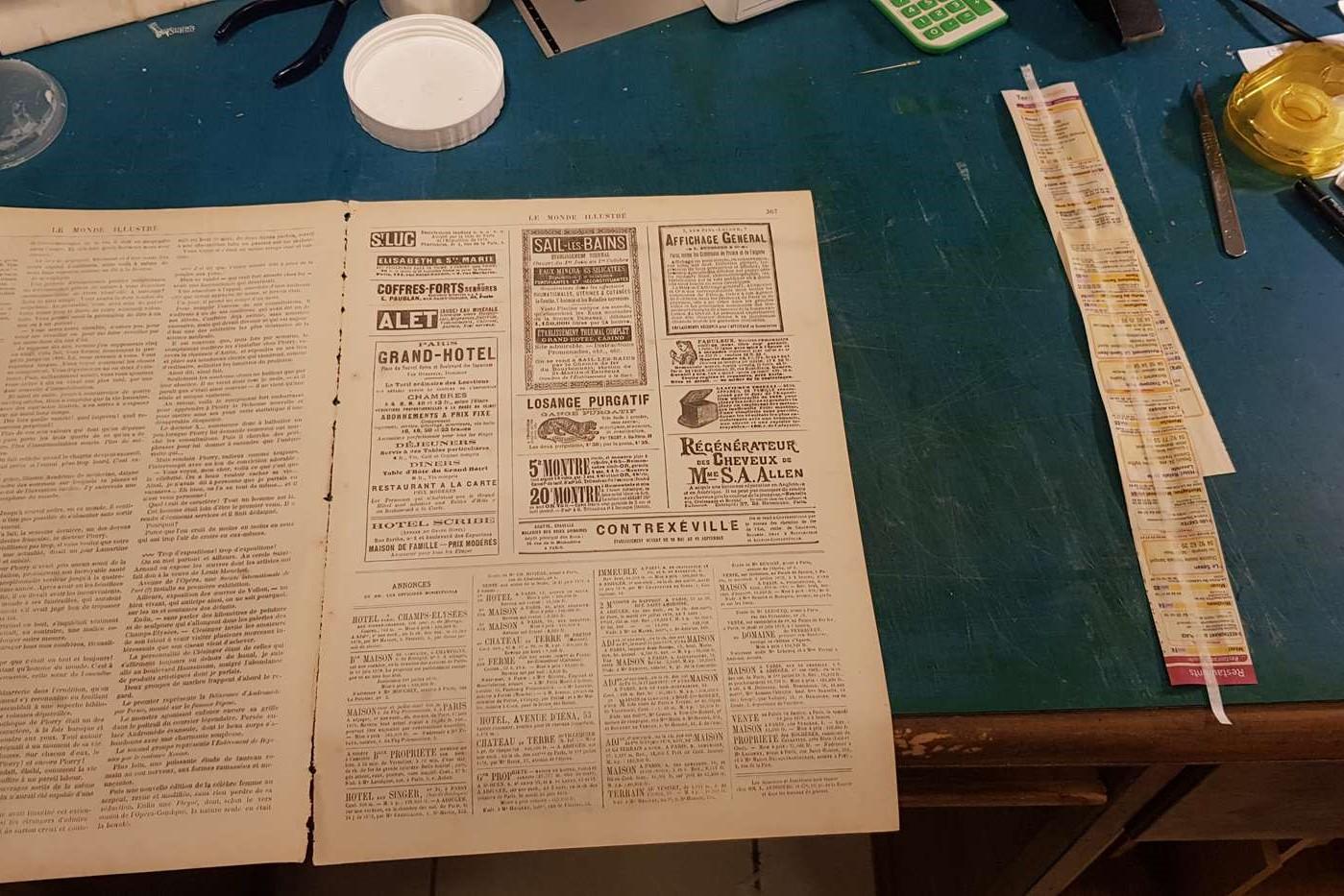 réparation fond de cahier le monde illustré