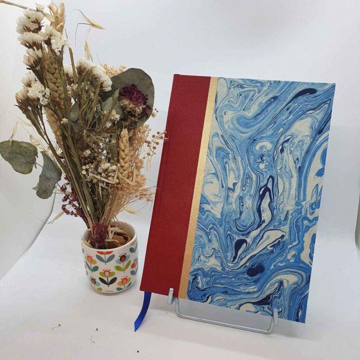 carnet de note bleu marbré